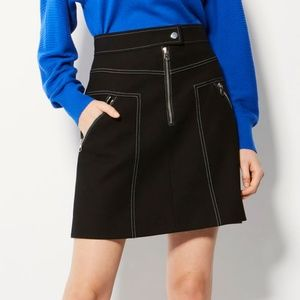 NWT Karen Millen Exposed Zipper Black Skirt, SZ 8